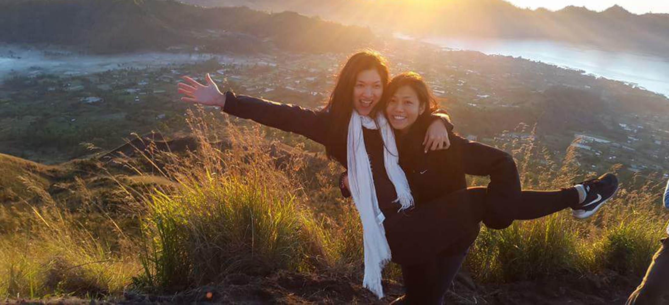 Mt Batur Peak photo 2 girls