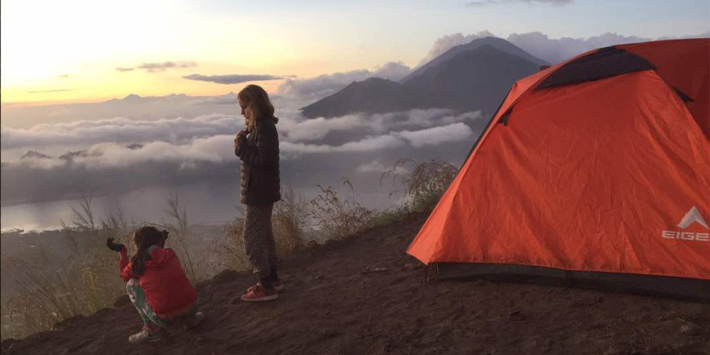 Mt Batur camping sunset view