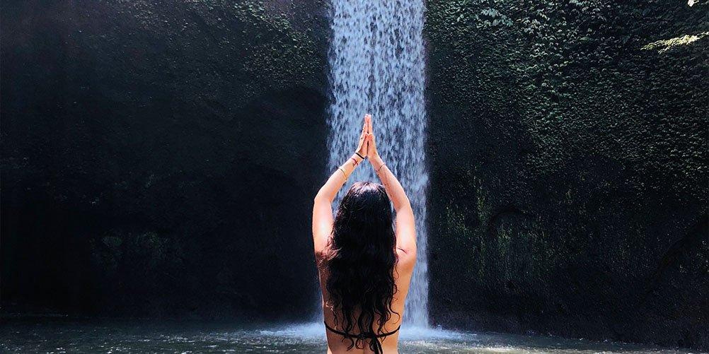 yoga at Waterfall, Bali